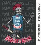 skull rock music skeleton t... | Shutterstock .eps vector #1480142870