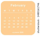 february 2020 planning calendar ... | Shutterstock .eps vector #1480161746