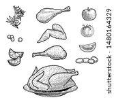 set of turkey and  chicken ... | Shutterstock .eps vector #1480164329