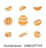 sliced orange vector icon set....   Shutterstock .eps vector #1480197749