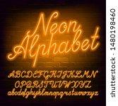 neon script alphabet font.... | Shutterstock .eps vector #1480198460