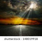Dramatic Sky Over An Asphalt...