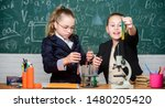 Small photo of Girls school uniform busy with proving their hypothesis. Private school. School project investigation. School experiment. Science concept. Gymnasium students with in depth study of natural sciences.