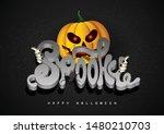 spooky 3d font pumpkin and...   Shutterstock .eps vector #1480210703