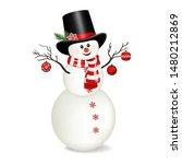 snowman  isolated on white... | Shutterstock .eps vector #1480212869