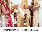 Stock photo indian bride and groom putting garland flower ritual ceremony 1480238966