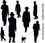 A collection of silhouettes of Jewish men. Religious Jews in traditional costume. Hasid with sidelocks. A man in a hat and a long coat. Isolated vector illustration. Black on white.
