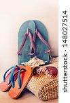 beach bag with towel flip flops ... | Shutterstock . vector #148027514