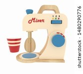 toy wooden kitchen mixer with a ... | Shutterstock . vector #1480290776