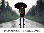 Motorcyclist In Full Gear And...