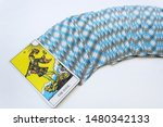 Small photo of Odessa/Ukraine-August 6,2019:Tarot esoteric card of Rider-Waite deck with first zero arcane on white background