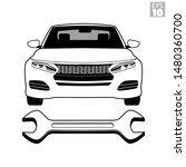 black and white frontal view of ... | Shutterstock .eps vector #1480360700
