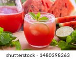 watermelon juice with mint and... | Shutterstock . vector #1480398263