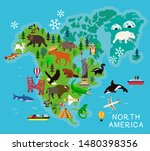 animal cartoon map. north... | Shutterstock .eps vector #1480398356