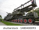 Installation-conveyor naval railway artillery  with 305mm gun, USSR. Military equipment of the Second world war.