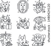 travel cute line icons cat... | Shutterstock .eps vector #1480424120