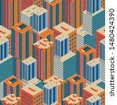 isometric buildings. seamless...   Shutterstock .eps vector #1480424390