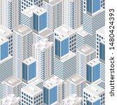 isometric buildings. seamless...   Shutterstock .eps vector #1480424393