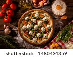 brazilian pizza with salmon ... | Shutterstock . vector #1480434359