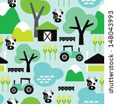 seamless farm animal cow and... | Shutterstock .eps vector #148043993