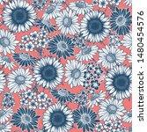 vintage flower seamless pattern.... | Shutterstock .eps vector #1480454576