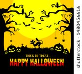 happy halloween black theme... | Shutterstock .eps vector #1480456616