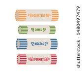 us coin roll wrapper. quarter ...   Shutterstock .eps vector #1480497479