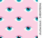 girly eyes seamless pattern on... | Shutterstock .eps vector #1480498046