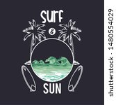 surf and summer card with... | Shutterstock .eps vector #1480554029