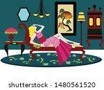 art deco room with woman...   Shutterstock . vector #1480561520