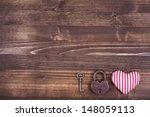 Heart  Key And Lock On Vintage...