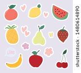 set of cute dessert  fun fruit... | Shutterstock .eps vector #1480614890