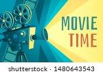 movie time poster. vintage...   Shutterstock .eps vector #1480643543