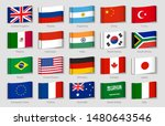 national flags fabric tags. g20 ... | Shutterstock .eps vector #1480643546