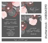 wedding invitation  thank you... | Shutterstock .eps vector #148064390