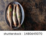Stock photo smoked herring with dill on a metal dish copy space for your text 1480645070