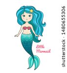 cute little mermaid with... | Shutterstock .eps vector #1480655306