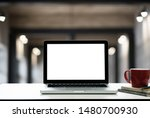front view of the laptop on the ... | Shutterstock . vector #1480700930