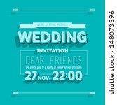 wedding invitation blue... | Shutterstock .eps vector #148073396