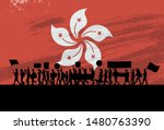 silhouette of people protesting ... | Shutterstock .eps vector #1480763390