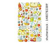 kindergarten with toys. pattern ... | Shutterstock .eps vector #1480782389
