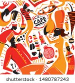 armenian cafe   food art style  ... | Shutterstock .eps vector #1480787243