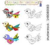 birds   coloring. | Shutterstock . vector #148080083