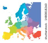 map of europe in colors of... | Shutterstock .eps vector #1480818260