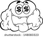 outlined money loving brain... | Shutterstock .eps vector #148083323