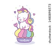 Cute Unicorn Vector With Sweet...