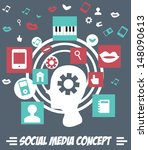 social media concept with man... | Shutterstock .eps vector #148090613