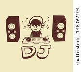 dj on a turntable with two... | Shutterstock .eps vector #148092104