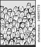 men crowd  cartoon characters | Shutterstock .eps vector #148095773