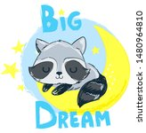 hand drawn cute raccoon is... | Shutterstock .eps vector #1480964810